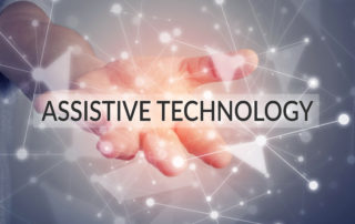 Assistive technology represented with links coming off hand