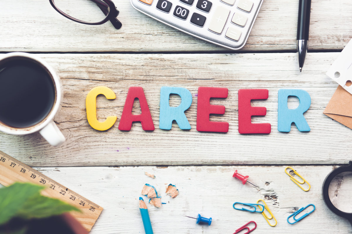 Career sign on a wooden desk in an office