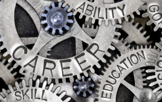Mental wheels with careers education goals vision and skills imprinted