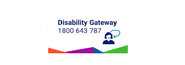 Disability gateway logo and contact number 1800 643 787