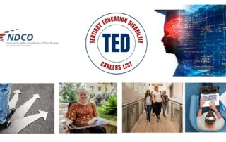 TED Page with logo and representations of students with disability attending tertiary education