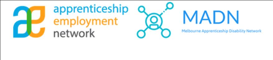 Aprenticeship Employment Network and Melbourne Apprenticeship Disability Network Logos