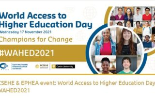 World Access to Higher Education Day Banner with images of prospective students
